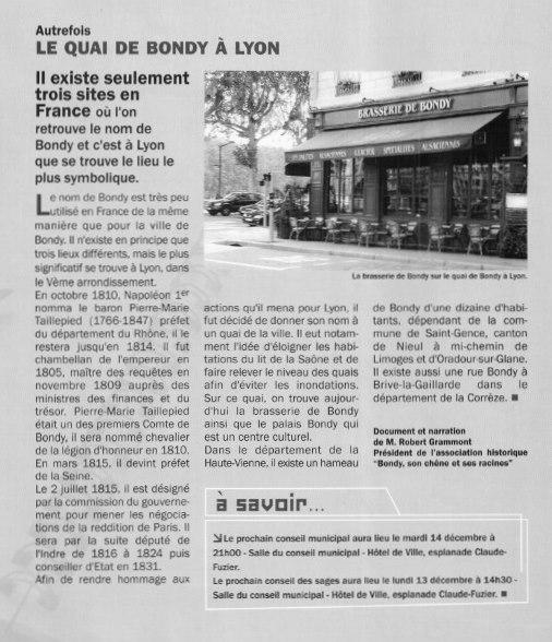 Le Quai de Bondy à Lyon