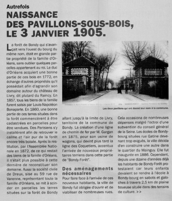 Naissance Pavillons-Sous-Bois 1905
