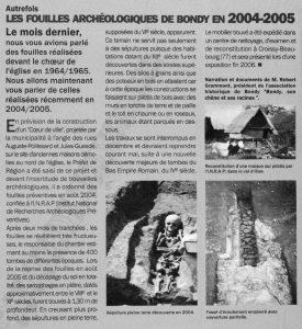 Les fouilles de Bondy (2005)