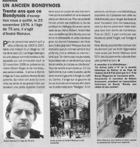 Notre Bondynois André Malraux