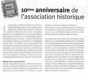 Les 10 ans de l'Association Historique