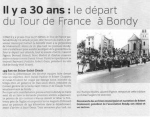 IL Y A 30 ANS DEPART DU TOUR DE FRANCE A BONDY