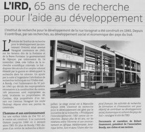L'IRD - 65 ANS DE RECHERCHE POUR L'AIDE AU DEVELOPPEMENT